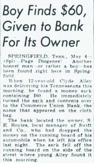 """Boy Finds $60, Given to Bank For Its Owner,"" _The Tennessean_, May 5, 1944, pg. 12"