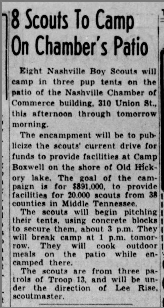 """8 Scouts to Camp On Chamber's Patio,"" April 10, 1959"