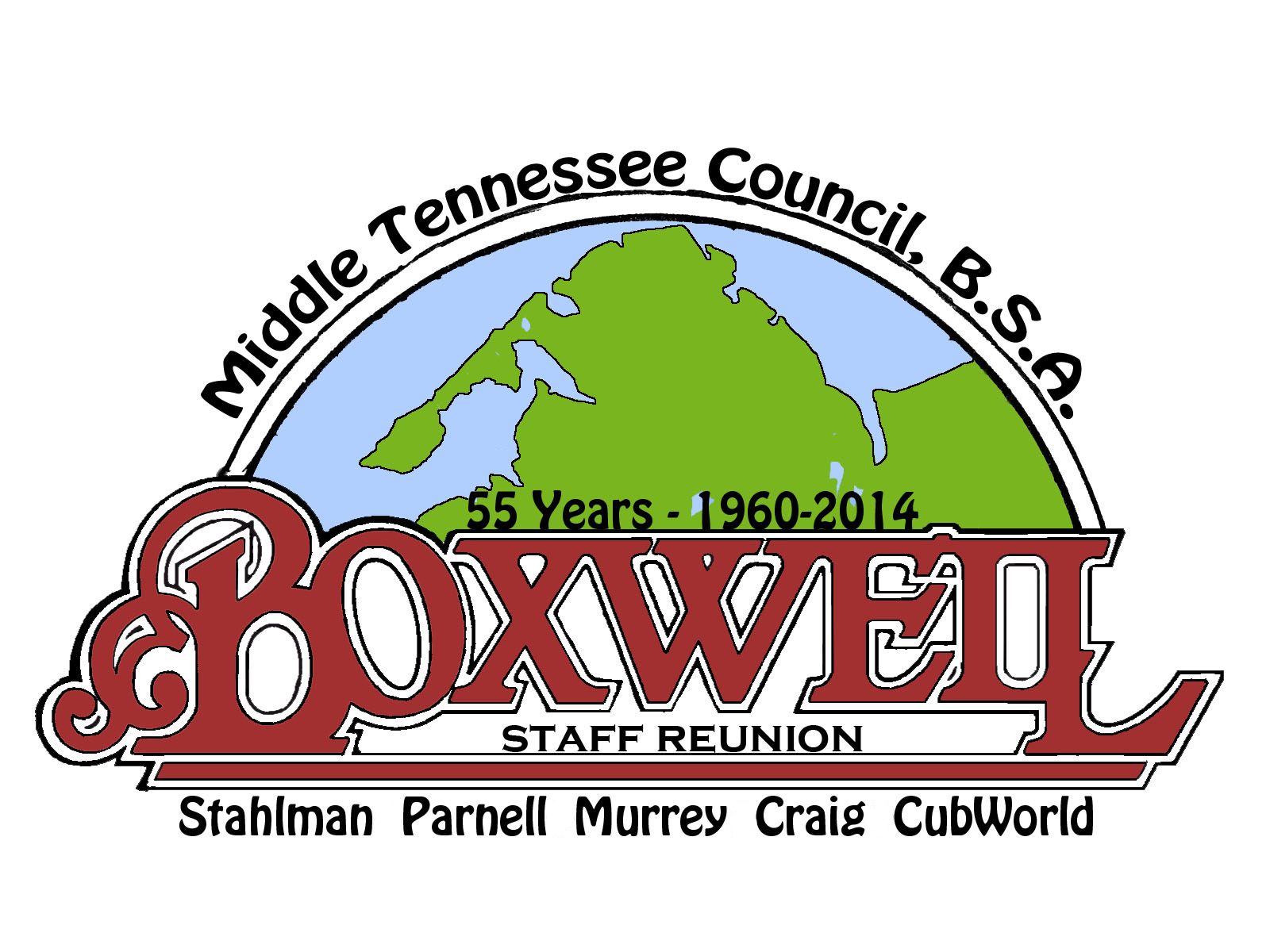 This is the logo for the 2014 Boxwell Staff Reunion.  Slight modifications on this design will exist for the patch and the t-shirt.